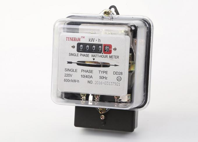 Transparent Glass Cover Energy Consumption Meter / Black Kilowatt Power Meter