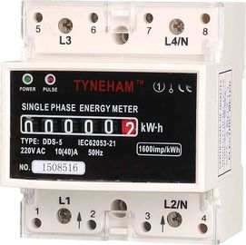 Single Phase DIN Rail Mounted KWH Meter , Long Life DIN Rail Electricity Meter